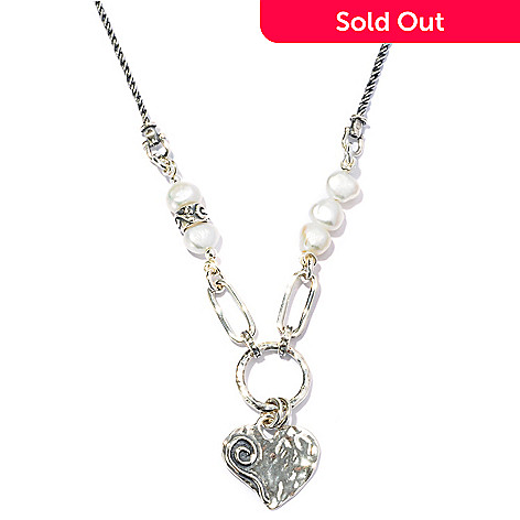 128-250 - Passage to Israel Sterling Silver 18'' Cultured Freshwater Pearl Heart Necklace