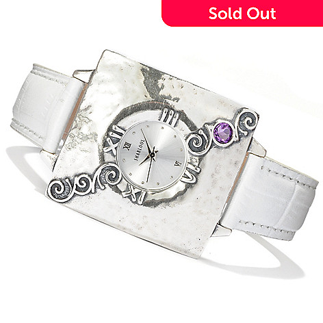 128-256 - Passage to Israel™ Sterling Silver Amethyst Accented Leather Strap Watch