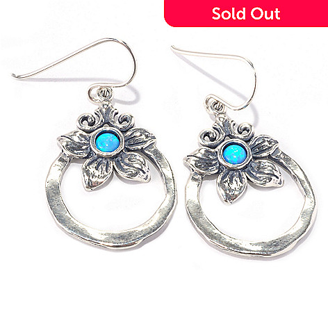 128-260 - Passage to Israel™ Sterling Silver Simulated Blue Opal Flower Circle Dangle Earrings