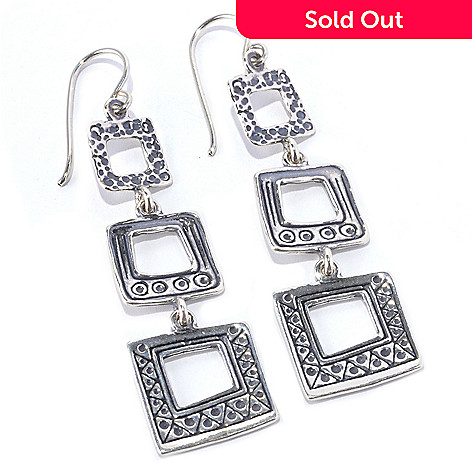128-262 - Passage to Israel™ Sterling Silver 2.5'' Hammered Triple Square Dangle Earrings