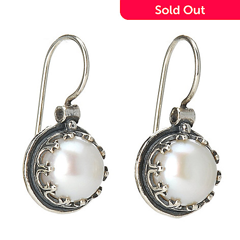 128-264 - Passage to Israel Sterling Silver 10mm Cultured Freshwater Pearl Drop Earrings