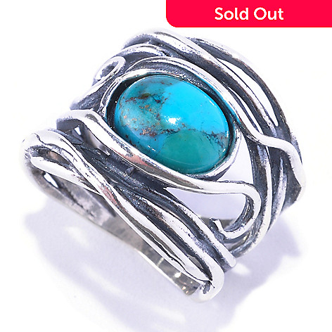 128-265 - Passage to Israel™ Sterling Silver 10 x 8mm Turquoise Hammered Ring