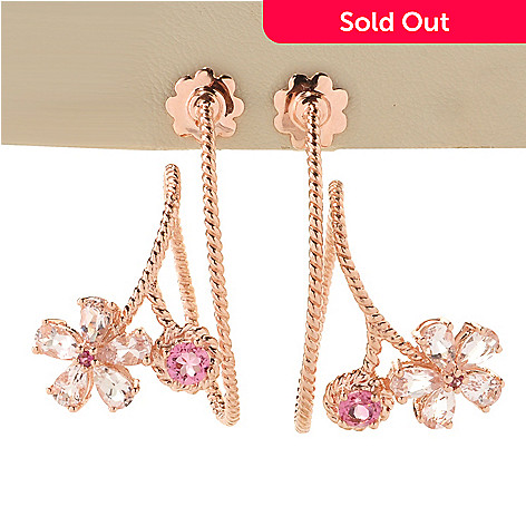 128-266 - NYC II® 1.25'' 1.96ctw Morganite, Pink Tourmaline & White Zircon Flower Swirl Drop Earrings