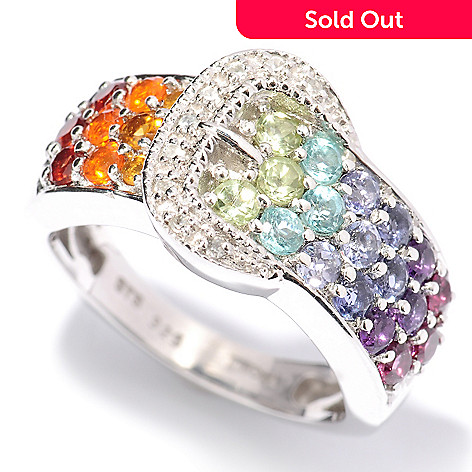 128-267 - NYC II™ 1.10ctw Multi Gemstone Exotic Rainbow Buckle Ring