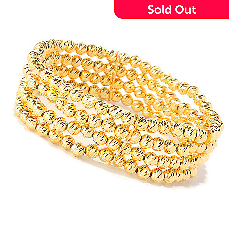 128-270 - Scintilloro™ Gold Embraced™ 7.25'' Diamond-Cut Four-Row Stretch Bracelet