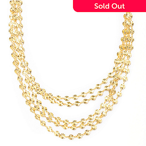 128-272 - Scintilloro™ Gold Embraced™ 18'' Diamond Cut Cascading 5-Strand Sunburst Necklace