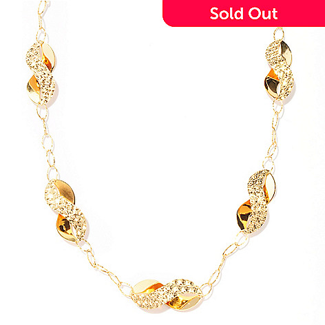 128-274 - Scintilloro™ Gold Embraced™ 30.5'' Diamond Cut Figure-Eight Station Necklace
