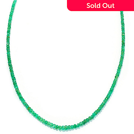 128-277 - Gem Treasures 14K Gold 18'' Emerald Bead Necklace