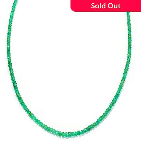 128-277 - Gem Treasures 14K Gold 18'' Emerald Bead Necklace