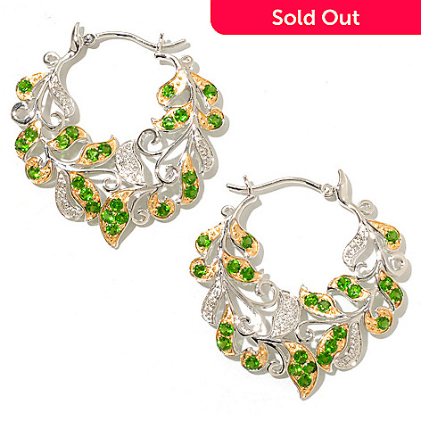 128-280 - Gem Treasures® Sterling Silver 1.5ctw Diamond & Chrome Diopside Leaf Hoop Earrings