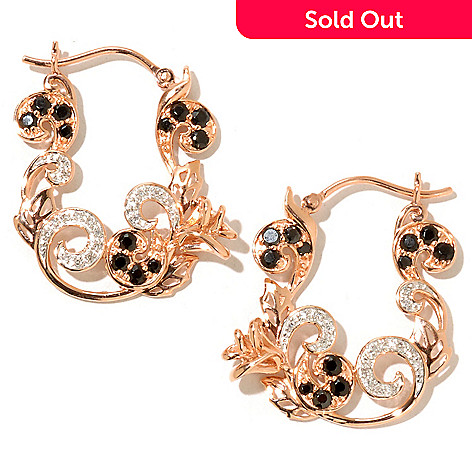 128-281 - Gem Treasures® 14K Rose Gold 0.70ctw Diamond & Spinel Rose Design Hoop Earrings