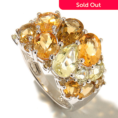 128-283 - Gem Treasures® Sterling Silver 3.81ctw Multi Shaped Quartz & Citrine Ring