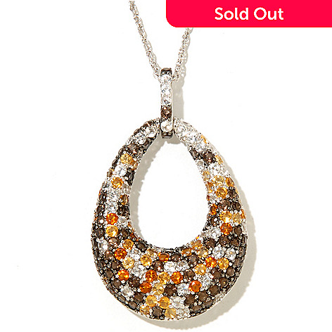 128-286 - Gem Treasures Sterling Silver 4.69ctw Smoky Quartz, Citrine & White Topaz Teardrop Pendant w/ Chain