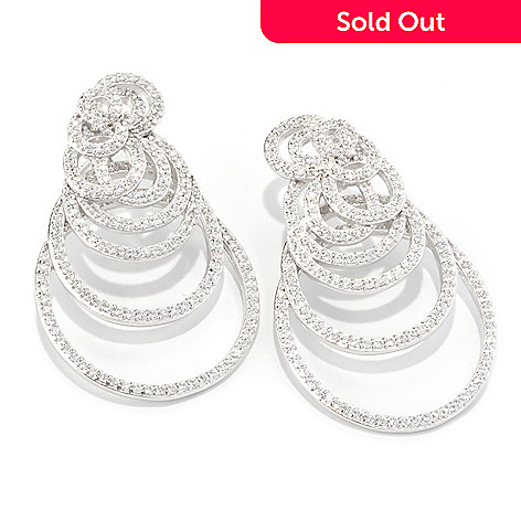 128-291 - Sonia Bitton Platinum Embraced™ Round Cut Swirl Simualted Diamond Oversized Earrings