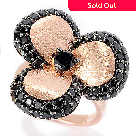 128-292 - Michelle Albala Black Spinel Brushed Three-Petal Flower Ring