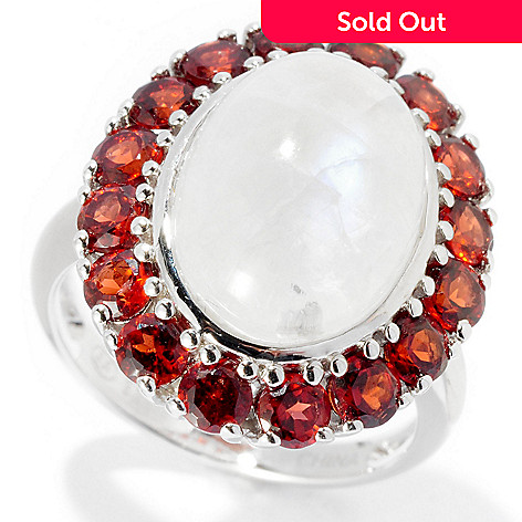128-302 - Gem Insider Sterling Silver 13 x 10mm Oval Rainbow Moonstone & Garnet Ring