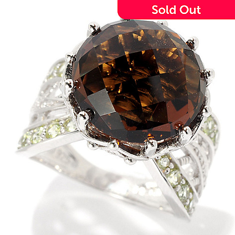 128-303 - Gem Insider™ Sterling Silver 8.50ctw Cognac Quartz, Peridot & Diamond Ring