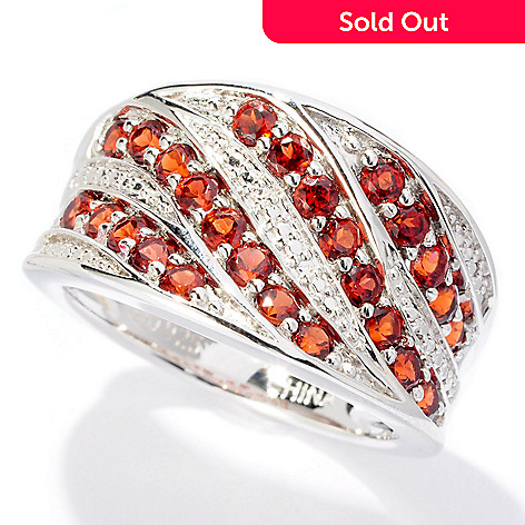 128-304 - Gem Insider Sterling Silver 1.00ctw Garnet Diagonal Band Concave Ring