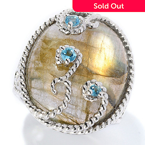 128-305 - Gem Insider™ Sterling Silver 22 x 17mm Labradorite & Blue Topaz Ring
