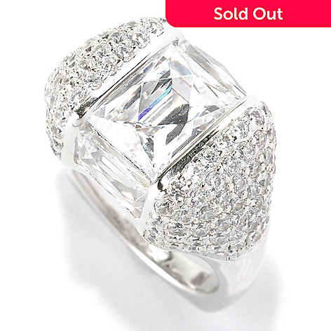 128-307 - TYCOON Platinum Embraced™ 6.24 DEW Pave Set Simulated Diamond Angular Fancy Ring