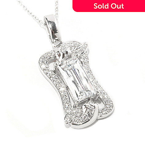 128-309 - TYCOON Platinum Embraced™ 3.31 DEW Framed Simulated Diamond Snake Pendant