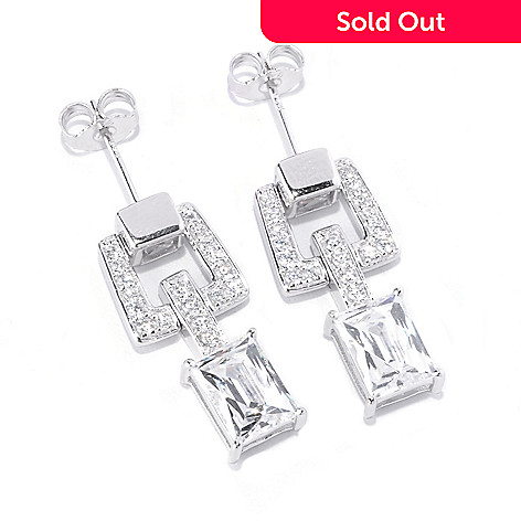 128-311 -  TYCOON Platinum Embraced™ 4.54 DEW Polished Simulated Diamond Link Drop Earrings