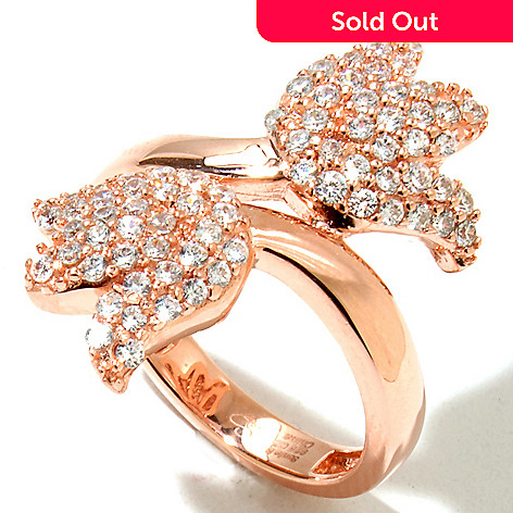 128-316 - Sonia Bitton Gold Embraced™ Round Cut Simulated Diamond Tulip Bypass Ring