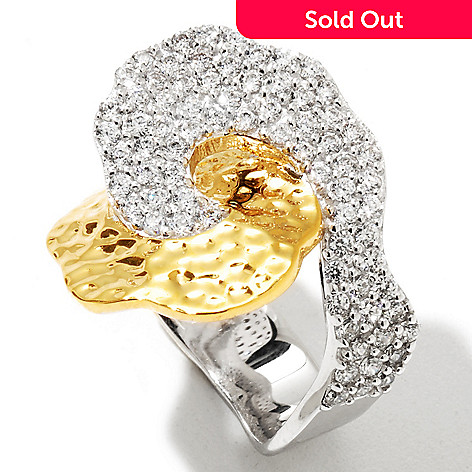 128-321 - Sonia Bitton Two-tone 1.48 DEW Hammered & Pave Simulated Diamond Swirl Ring