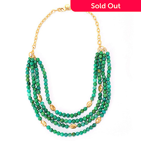 128-335 - mariechavez 18'' Beaded Gemstone Cascading Necklace