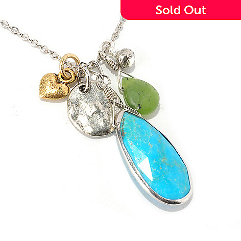 128-338 - mariechavez 18'' Turquoise & Jade Multi Charm Necklace