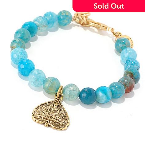 128-346 - mariechavez 7'' Agate Bead Buddha Charm Bracelet