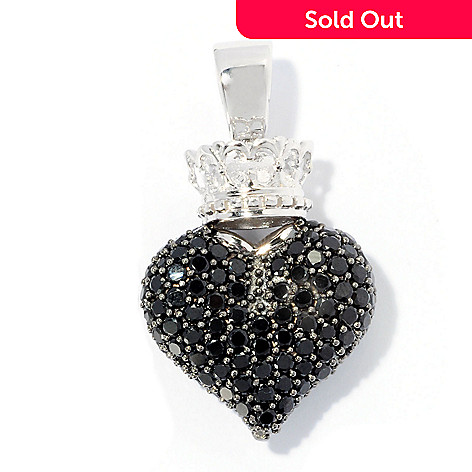 128-351 - Gem Treasures® Sterling Silver Gemstone Heart & Crown Enhancer Pendant