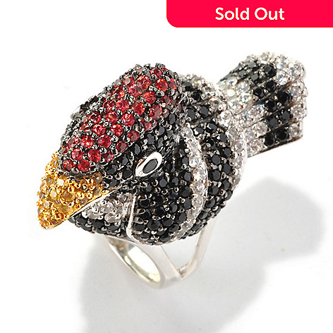 128-354 - Gem Treasures Sterling Silver 6.08ctw Black Spinel, White Zircon & Sapphire Woodpecker Ring