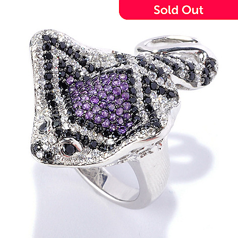 128-355 - Gem Treasures® Sterling Silver 3.12ctw Black Spinel, White Zircon & Amethyst Stingray Ring