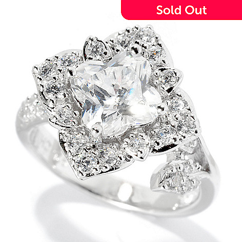 128-357 - Brilliante® Platinum Embraced™ 2.19 DEW Simulated Diamond Flower Cut Ring