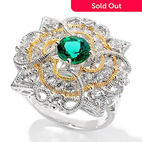 128-362 - Champenois® 1.68 DEW Two-tone Simulated Diamond Emerald Milgrain Ring