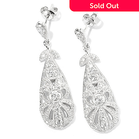 128-367 - Champenois® for Brilliante® 1.25 DEW Round Cut Milgrain Drop Earrings