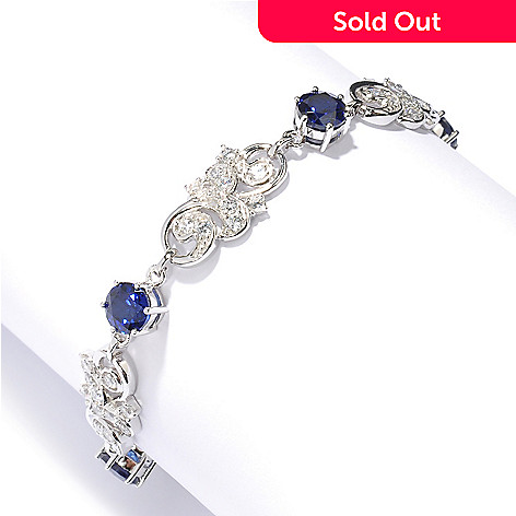 128-371 - Champenois® Round Cut Simulated Diamond Blue Sapphire Link Bracelet