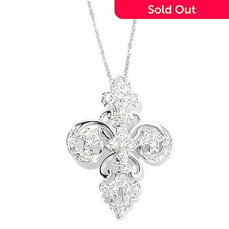 128-374 - Champenois® 1.21 DEW Round Cut Fleur-de-lis Simulated Diamond Cross Pendant
