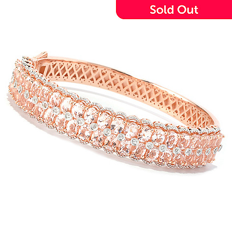 128-376 - NYC II® 14.56ctw Morganite & White Zircon Hinged Bangle Bracelet