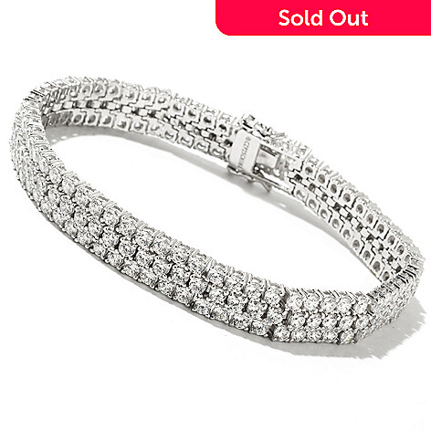 128-380 - Charlie Lapson® Platinum Embraced™ Round Cut Simulated Diamond Three-Row Bracelet