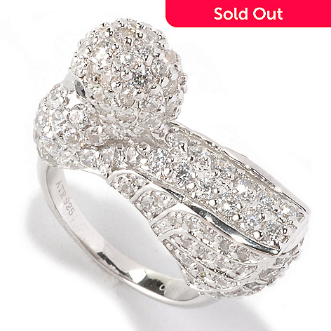 128-381 - Neda Behnam Platinum Embraced™ 4.12 DEW White Pave Set Simulated Diamond Swan Ring