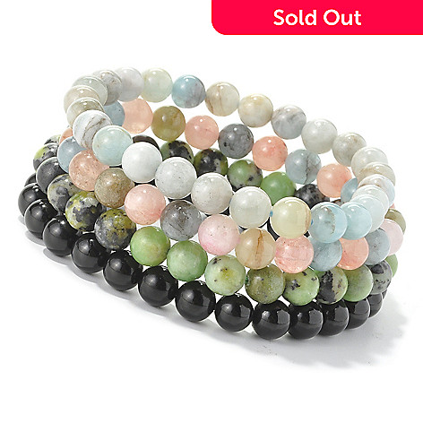 128-385 - Gem Treasures® Set of Four 7.25'' Exotic Gemstone Bead Stretch Bracelets