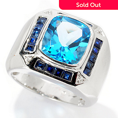 128-386 - Gem Treasures® Men's Sterling Silver White Zircon & Multi Gem Ring