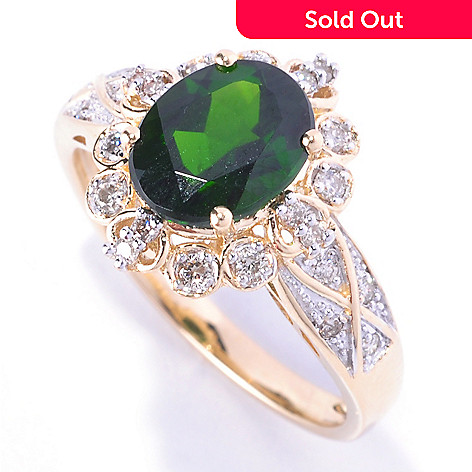 128-391 - Gem Treasures® 14K Gold 2.16ctw Oval Chrome Diopside & Diamond Ring