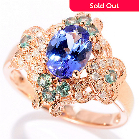 128-392 - Gem Treasures 14K Rose Gold 1.71ctw Tanzanite, Alexandrite & Diamond Ring