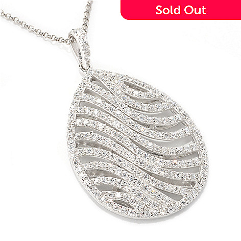 128-393 - Sonia Bitton Platinum Embraced™ 3.09 DEW Simulated Diamond Teardrop Wave Pendant