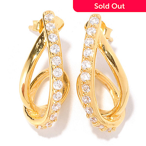 128-395 - Sonia Bitton Round Cut Simulated Diamond Twisted J-Hoop Earrings