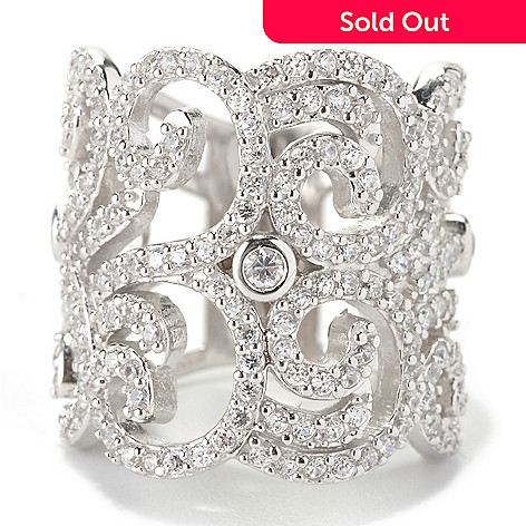 128-404 - Charlie Lapson® Platinum Embraced™ 2.74 DEW Round Cut Simulated Diamond Wide Swirl Ring