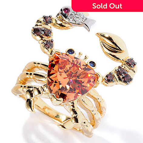 128-408 - Neda Behnam 18K Gold Embraced™ Trillion Cut Simulated Gemstone Crab Ring